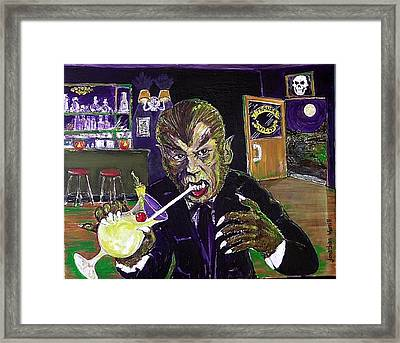 Werewolf Drinking A Pina Colada At Trader Vic's Framed Print by Jonathan Morrill