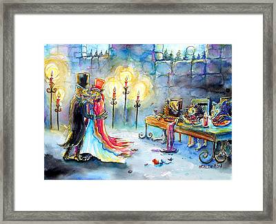 Framed Print featuring the painting Werewolf Romance by Heather Calderon