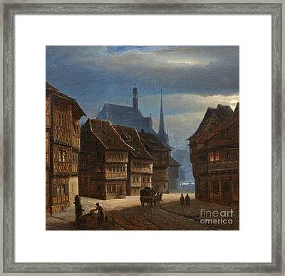 Wernigerode Marketplace By Night Framed Print by MotionAge Designs