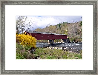 West Cornwall Ct Covered Bridge Framed Print by Glenn Gordon