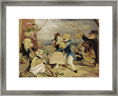 West End Fair. Monkeys And Dogs Performing On A Stage Framed Print by Edwin Landseer