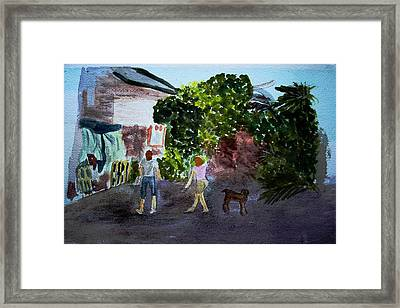 Framed Print featuring the painting West End Shopping by Donna Walsh