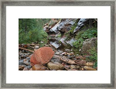 West Fork Trail River And Rock Horizontal Framed Print by Heather Kirk
