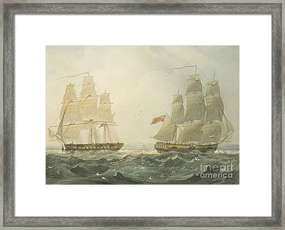 West Indiaman Union And Ann Coming Up The Bristol Channel Framed Print by Thomas Leeson the Elder Rowbotham