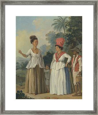West Indian Women Of Color, With A Child And Black Servant Framed Print by Agostino Brunias