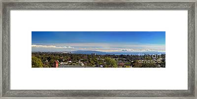 West La And Catalina Island From Pacific Palisades Framed Print by Wernher Krutein