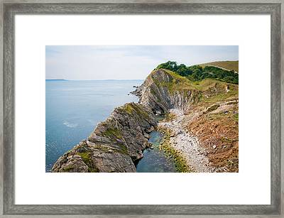 West Lulworth Lagoon The Natural Lagoon Behind The Jurassic Cliffs West Of Lulworth Cove Dorset Framed Print by Andy Smy