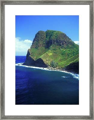 West Maui Ocean Cliff Framed Print by John Burk