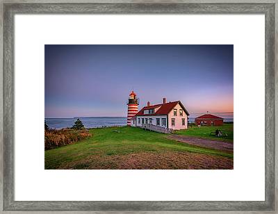 West Quoddy Head Light At Dusk Framed Print