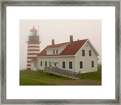 West Quoddy In Fog Framed Print by Brent L Ander