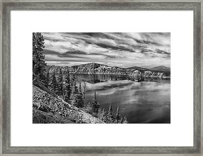 West Rim Of Crater Lake B W Framed Print by Frank Wilson