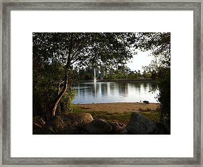Framed Print featuring the painting West View Of Lafarge Lake by Rod Jellison