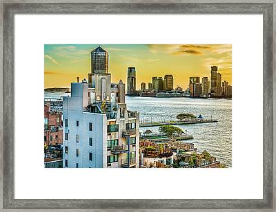 West Village To Jersey City Sunset Framed Print by Chris Lord