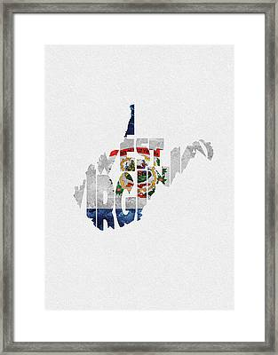 West Virginia Typographic Map Flag Framed Print
