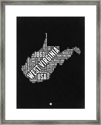 West Virginia Word Cloud Black And White Map Framed Print
