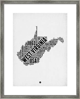 West Virginia Word Cloud Map 2 Framed Print