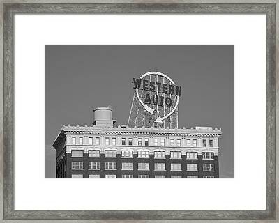 Western Auto Building Of Kansas City Missouri Bw Framed Print
