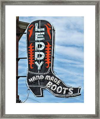 Framed Print featuring the photograph Western Boot Sign by David and Carol Kelly