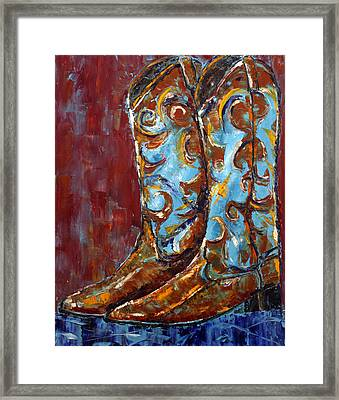 Framed Print featuring the painting Western Boots by Jennifer Godshalk