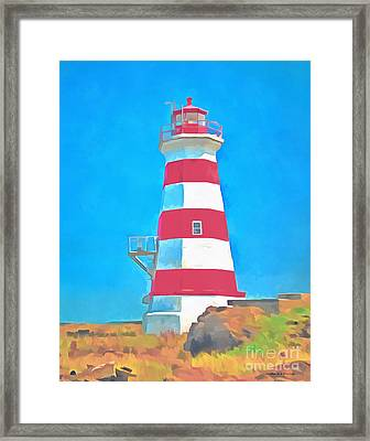 Western Brier Island Lighthouse Painting Framed Print by Edward Fielding