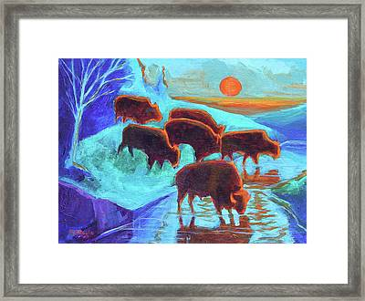 Western Buffalo Art Six Bison At Sunset Turquoise Painting Bertram Poole Framed Print by Thomas Bertram POOLE