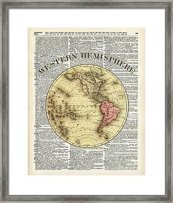Western Hemisphere Earth Map  Framed Print