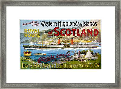 Western Highlands And Islands Of Scotland - Steamship - Retro Travel Poster - Vintage Poster Framed Print