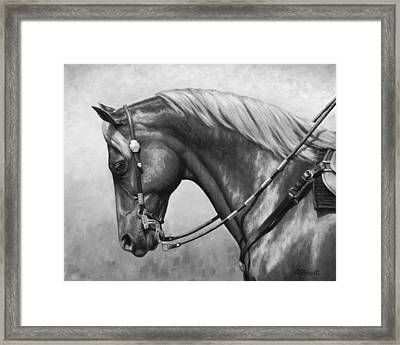 Western Horse Black And White Framed Print by Crista Forest