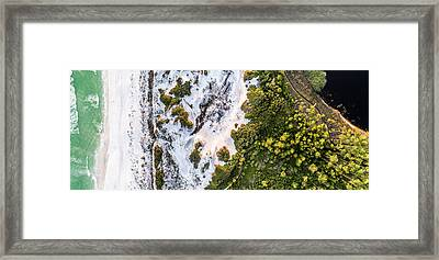 Western Lake Meets The Gulf At Graytom Beach State Park Aerial Framed Print