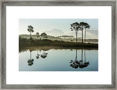 Western Lake Misty Morning Framed Print