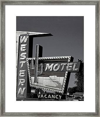 Framed Print featuring the photograph Western Motel In Black And White by Matthew Bamberg