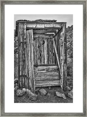 Western Outhouse Bw Framed Print