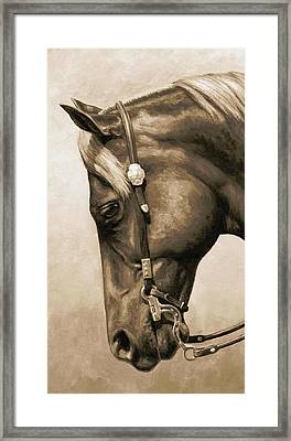 Western Pleasure Horse Phone Case In Sepia Framed Print by Crista Forest