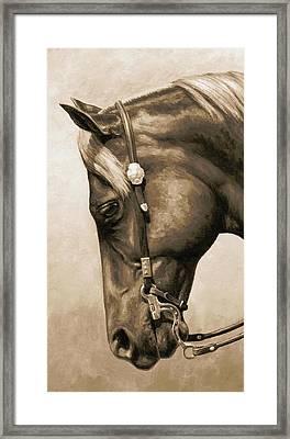Western Pleasure Horse Phone Case In Sepia Framed Print