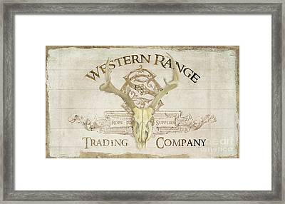 Framed Print featuring the painting Western Range 3 Old West Deer Skull Wooden Sign Trading Company by Audrey Jeanne Roberts