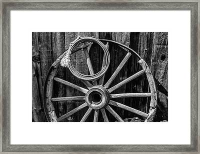 Western Rope And Wooden Wheel In Black And White Framed Print by Garry Gay