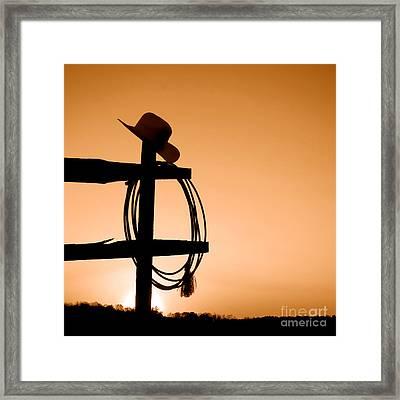 Western Sunset - Sepia Framed Print