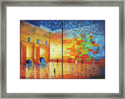 Framed Print featuring the painting Western Wall Jerusalem Wailing Wall Acrylic Painting 2 Panels by Georgeta Blanaru