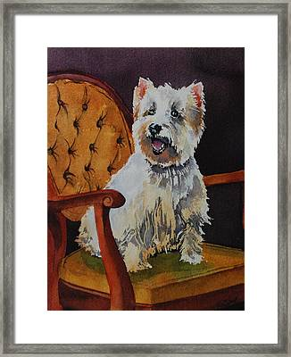 Westie Angel Dusty Framed Print by Donna Pierce-Clark