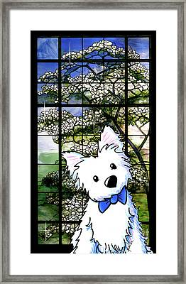Westie At Dogwood Window Framed Print by Kim Niles