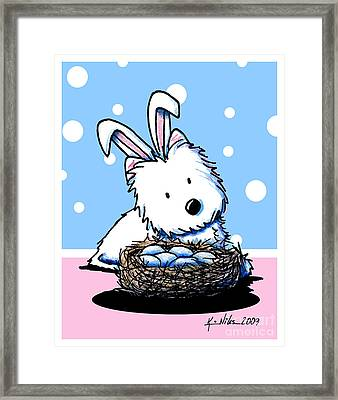 Westie Easter Rabbit Framed Print by Kim Niles