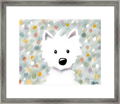Westie Floral Impression Framed Print by Kim Niles