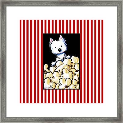 Westie Popcorn Lover Framed Print by Kim Niles