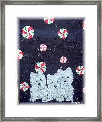Westies In Candy Land Framed Print by Tammy Brown