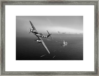 Framed Print featuring the photograph Westland Whirlwind Attacking E-boats Black And White Version by Gary Eason