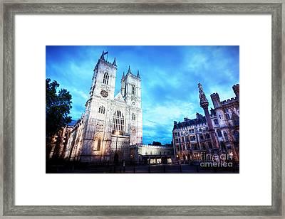 Westminster Abbey Church Facade At Night, London Uk. Framed Print by Michal Bednarek