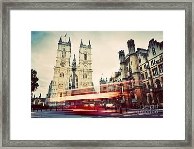 Westminster Abbey Church, Red Bus Moving In London Uk. Vintage Framed Print by Michal Bednarek