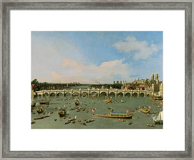 Westminster Bridge - London Framed Print by Giovanni Antonio Canaletto