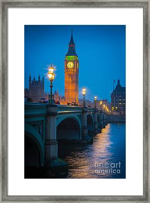 Westminster Bridge At Night Framed Print by Inge Johnsson