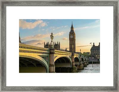 Westminster Bridge At Sunset Framed Print by James Udall